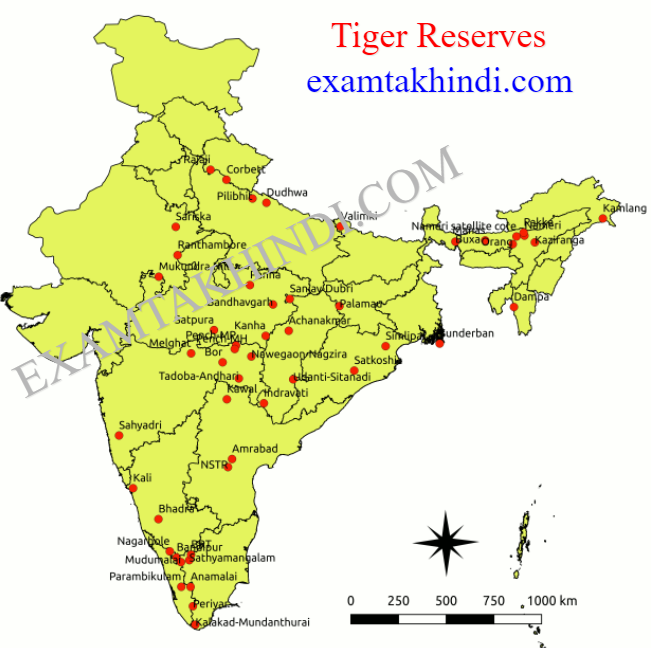 tiger reserve of india map